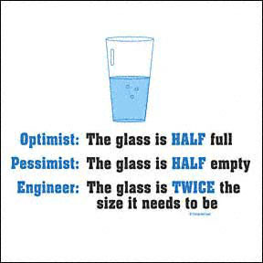 Engineer: The glass is twice the size it needs to be.